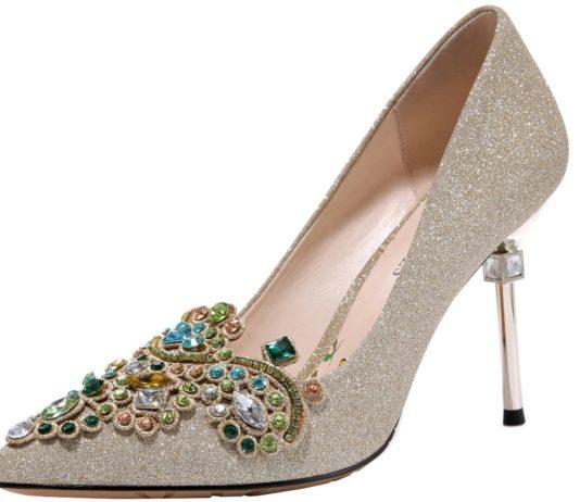 MOLECOLE Women's Dress Pumps Rhinestone Pointed Toe Slip On Elegant Wedding Evening Party Heels